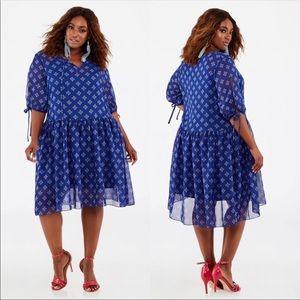 Ashley Stewart Boho Print Drop Waist Dress NWOT